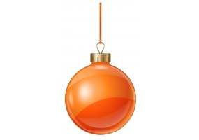 Autocollant boule de noel orange