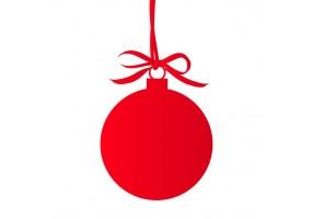 Autocollant boule de noel rouge