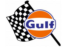 Sticker Gulf damier drapeau gauche