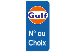 Sticker Gulf plaque immatriculation bleu orange
