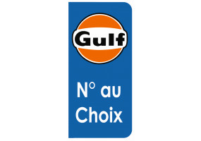Sticker Gulf plaque immatriculation noir orange