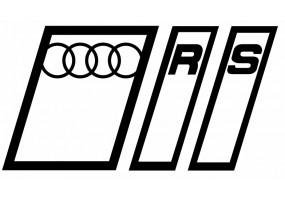 Sticker AUDI R S logo blanc noir