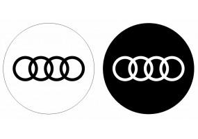 Sticker AUDI logo blanc noir