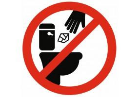 Sticker interdit de jeter dans les toilettes
