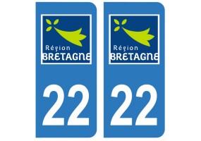 Autocollant plaque immatriculation 22
