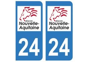 Autocollant plaque immatriculation 24 Dordogne