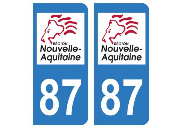 Paire Sticker immatriculation 87 Nouvelle Aquitaine