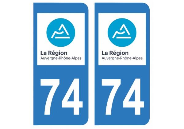 Nouveau logo Auvergne Rh/ône-Alpes Paire Sticker immatriculation 74