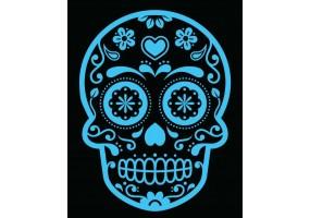Sticker tete de mort fleurs