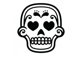 Sticker tete de mort coeur
