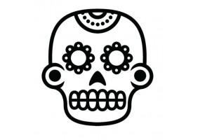 Sticker tete de mort noir et blanc
