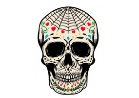 Sticker tete de mort toile