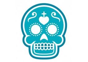 Sticker tete de mort bleu