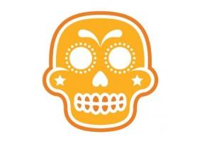 Sticker tete de mort orange