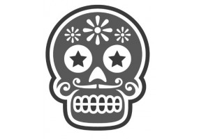 Sticker tete de mort noir