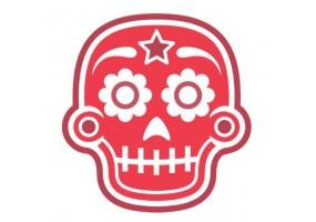 Sticker tete de mort rouge