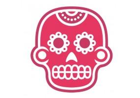 Sticker tete de mort rose