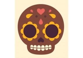 Sticker tete de mort marron