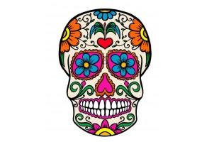 Sticker tete de mort mexicain