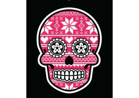Sticker tete de mort noel rose