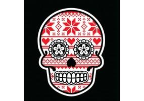 Sticker tete de mort noel rouge