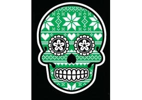 Sticker tete de mort noel vert