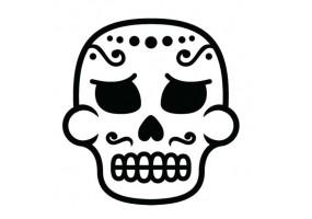Sticker tete de mort moustache