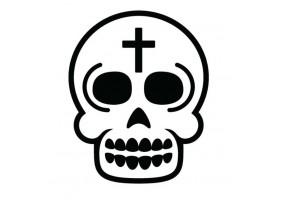 Sticker tete de mort croix