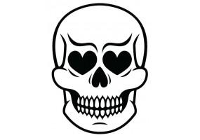 Sticker tete de mort yeux en coeur