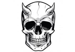 Sticker tete de mort corne