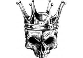 Sticker tete de mort couronne