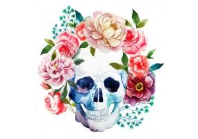 Sticker tete de mort fleur