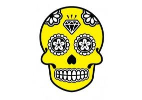 Sticker tete de mort jaune