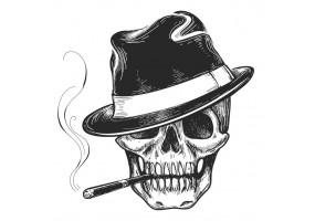 Sticker tete de mort chapeau