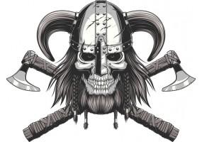 Sticker tete de mort casque corne