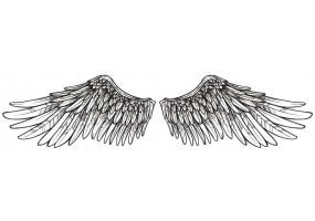 Sticker ange aile noir et blanche