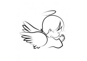 Sticker ange noir et blanc