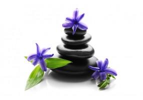 Sticker zen galet fleur violette