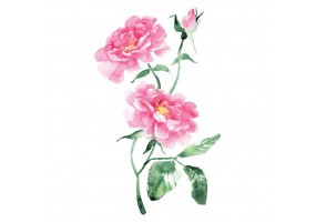 Sticker chinois fleur rose