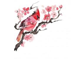 Sticker chinois fleur sur branche
