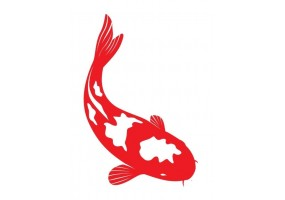 Sticker chinois poisson rouge et blanc