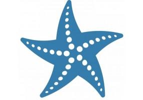Sticker coquillage étoile de mer bleu et blanc