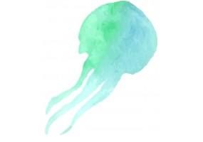 Sticker coquillage méduse verte